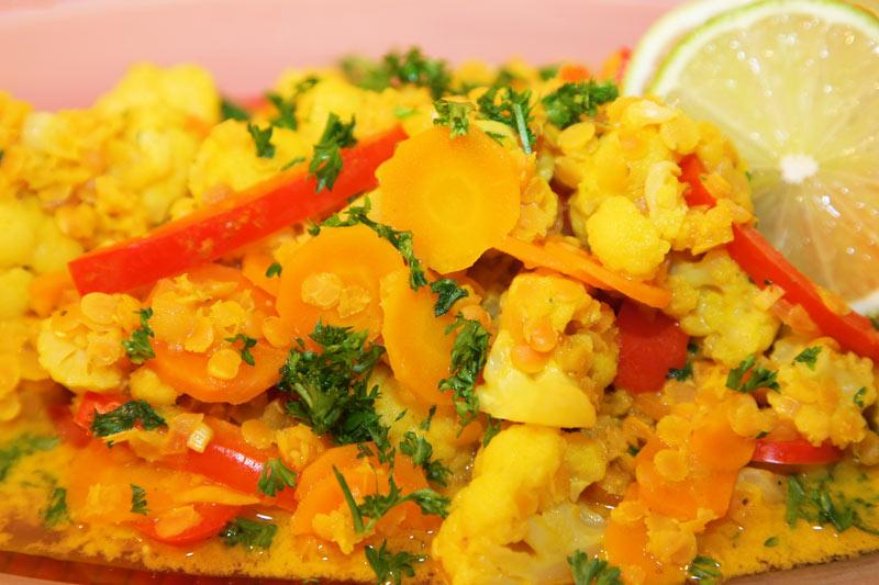 Blumenkohl-Linsen-Curry-Detail