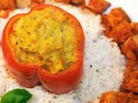Gebackene Paprika an mariniertem Tofu