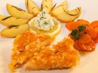 Steckrüben-Ecken mit Rosmarinkartoffeln und Kräuterbutter