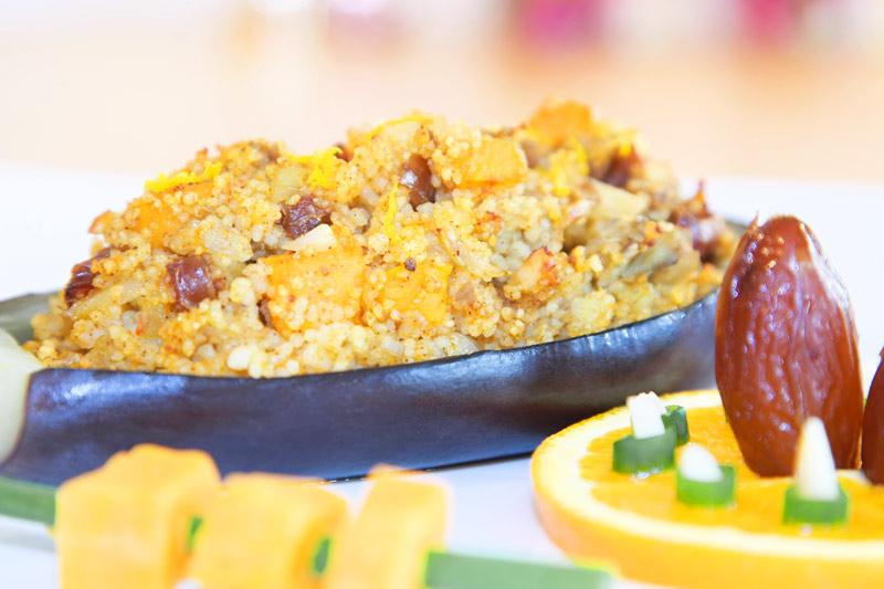Auberginen-Schiffchen mit orientalischem Couscous